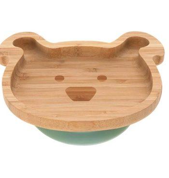 assiette en bois de bambou enfant