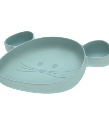assiette silicone bleu