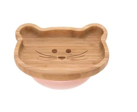 assiette en bois de bambou bébé