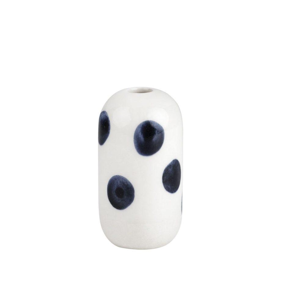 mini vase pois marine et blanc