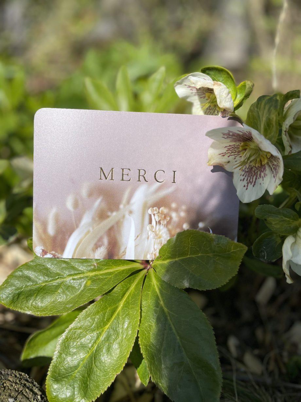 carte postale merci doré