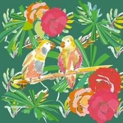 coupon de tissu oiseaux exotiques