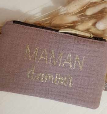 pochette maman d'amour taupe
