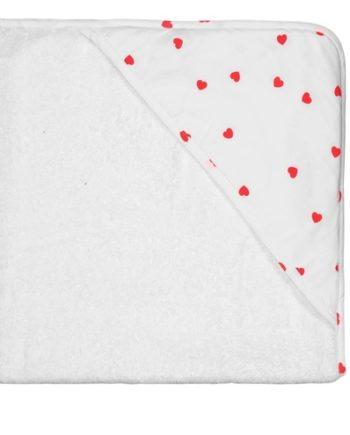 cape de bain coeurs rouges